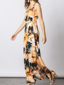 Abstract Criss Cross Back Maxi Dress