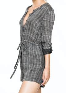 Rolled-Up Sleeve Grey Romper