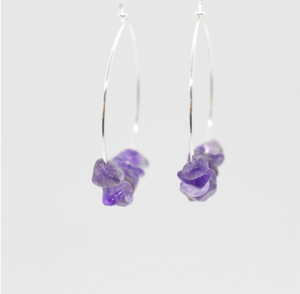 Rock Candy Stone Hoop Earrings