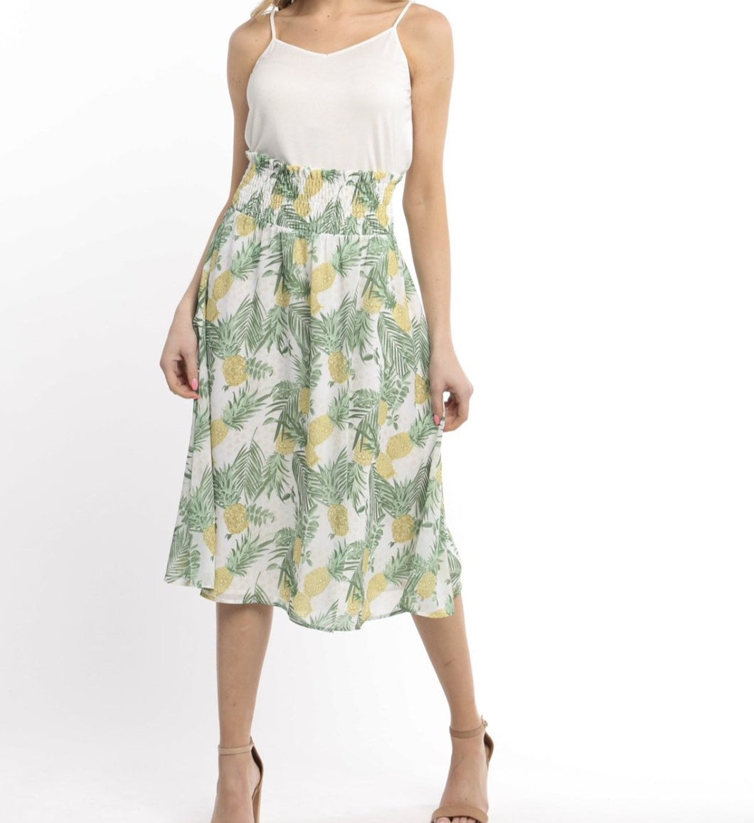 Boho Pineapple Print Skirt