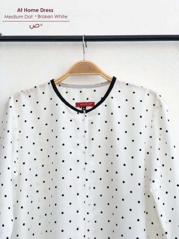At Home Dress Medium Dot Broken white