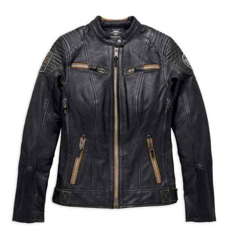 Harley-Davidson® Women's Maize Vented Vintage Leather Jacket, Black - 97013-19VW