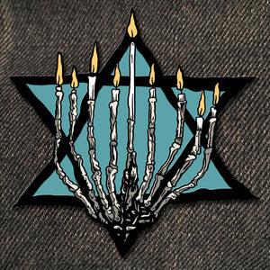 Hanukkah Bone Menorah Enamel Pin (Glow in the Dark)