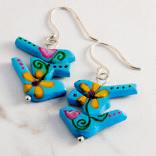Load image into Gallery viewer, The birds in these handmade earrings wanted a new beginning, a new opportunity and a new trail to travel so they morphed out of a rulerdom and became a tribe of flower power birds.