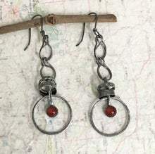 "Load image into Gallery viewer, Sometimes taking action means tapping into your courage!   The 6mm Carnelian gemstones in the handmade earrings just might be whispering in your ears and offering a boost of courage.   Textured and patinated Sterling Silver and Argentium™ .  20 gauge Argentium™ ear wires  Total length:  3"" from the top of the ear wire to the bottom of the charm.  Charm Size:  2 1/4"" long x 7/8"" wide  Carnelian can encourage one to take action if they so desire."