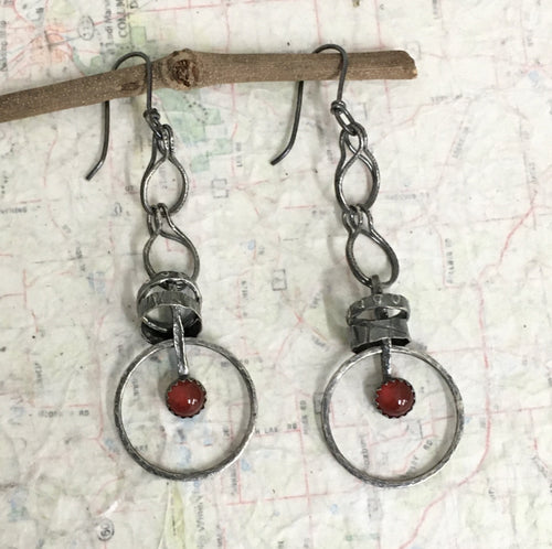 Sometimes taking action means tapping into your courage!   The 6mm Carnelian gemstones in the handmade earrings just might be whispering in your ears and offering a boost of courage.   Textured and patinated Sterling Silver and Argentium™ .  20 gauge Argentium™ ear wires  Total length:  3