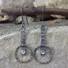 "Load image into Gallery viewer, A stone for wishing and hope, Moonstone offers help with understanding through intuition.  These simple, hand-textured Sterling Silver earrings feature a 4mm bezel-set Moonstone.     20 gauge patinated Argentium™ ear wires  Total Length:  1 3/4"" from the top of the ear wire to the bottom of the charm.  Charm Size:    1 3/8"" long x 1/4"" wide"