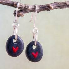 Load image into Gallery viewer, It's always a welcome surprise when two stones that are similar enough to become earrings!  This can take a lot of rock hounding and sorting but it is always worth it!  This pair asked for a tiny red heart to be painted on each of them.  Let them whisper their secrets of love in your ears...only for you to hear.