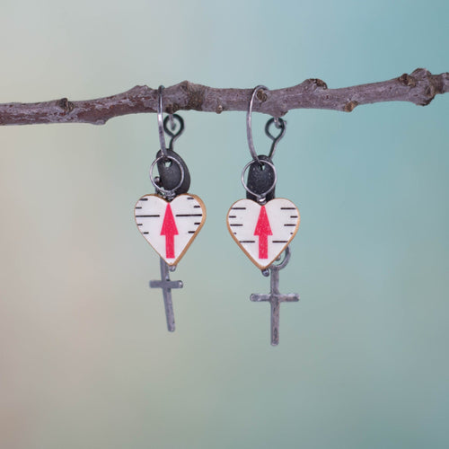 Symbolism abounds in these handmade mixed media earrings.  Hearts made from a carpenter's ruler with arrows pointed skyward, handmade, textured Sterling Silver crosses and stones. There are many ways to believe.  Is this yours?