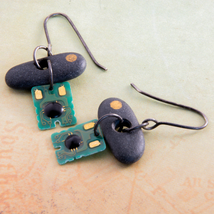 Is it nature or nurture or a combination of both that makes us who we are? This concept is explored in these mixed media purpose-filled earrings.  Edit alt text