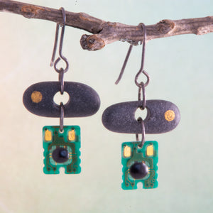 Is it nature or nurture or a combination of both that makes us who we are?  This concept is explored in these mixed media purpose-filled earrings.