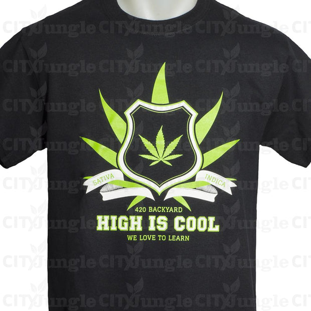 420 Backyard - Maglietta A Maniche Corte High Is Cool University Nera Magliette