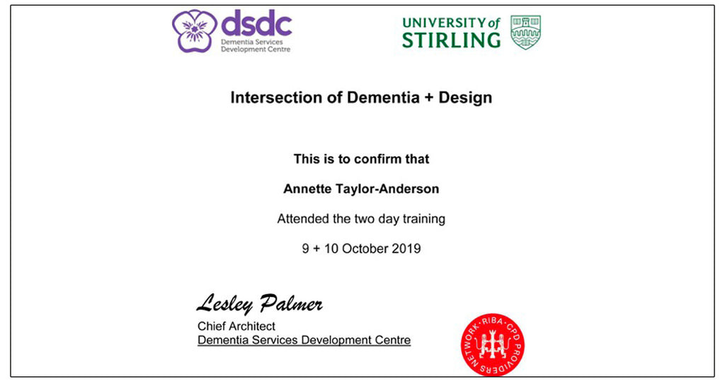 ARADesigns DSDC Intersection of Dementia and Design Certificate, University of Sterling