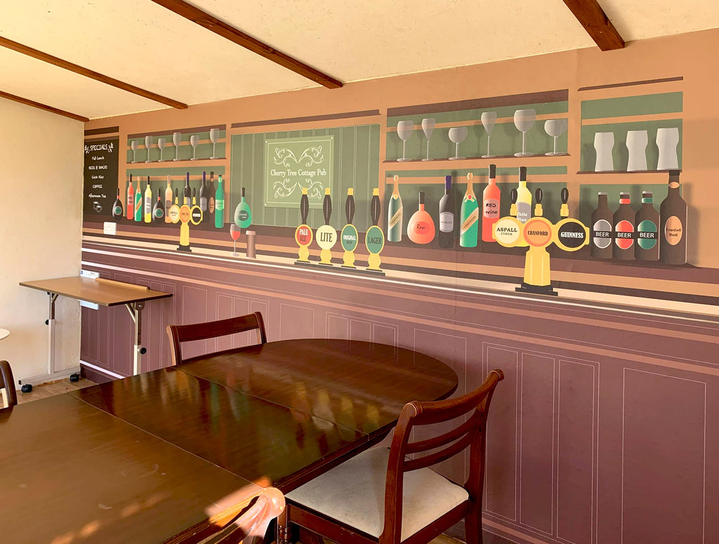 Bespoke Bar Mural Design installed in the Cottage Tree Pub-Style space at Cranford Residential Home