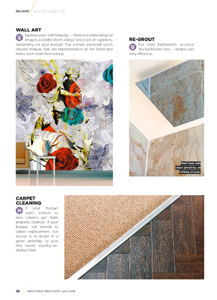 Boutique Hotelier Magazine featuring ATADesigns Among Angels Mural