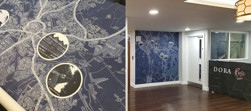 Boutique Map Design by ATADesigns installed at Dora Rose Care Home