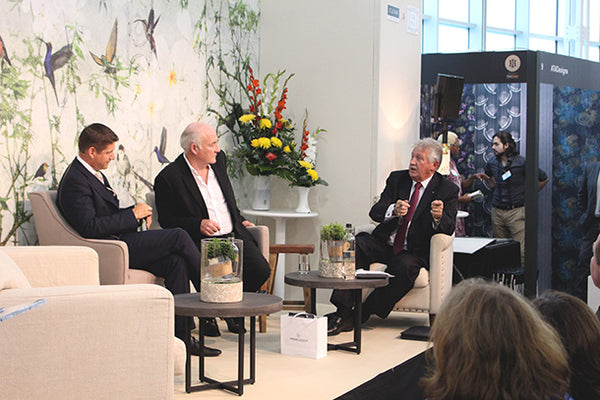 L-R David Connell, Rick Stein and Brian Turner panel disucssion in front of Birds mural design by ATADesigns