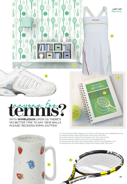 Tennis Wallpaper Design by ATADesigns for People and Places Magazine