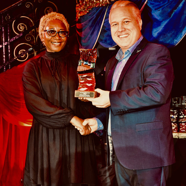 Annette Taylor-Anderson Winner of Print Solutions Award for Solutions for Adding Value Held at The Cafe De Paris in London. Hosted by Earth Island Publishing