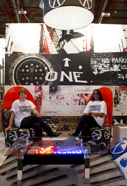 Annette Taylor-Anderson and Adrienne Chinn showcasing the Urban London Project at 100% Design Exhibition - London