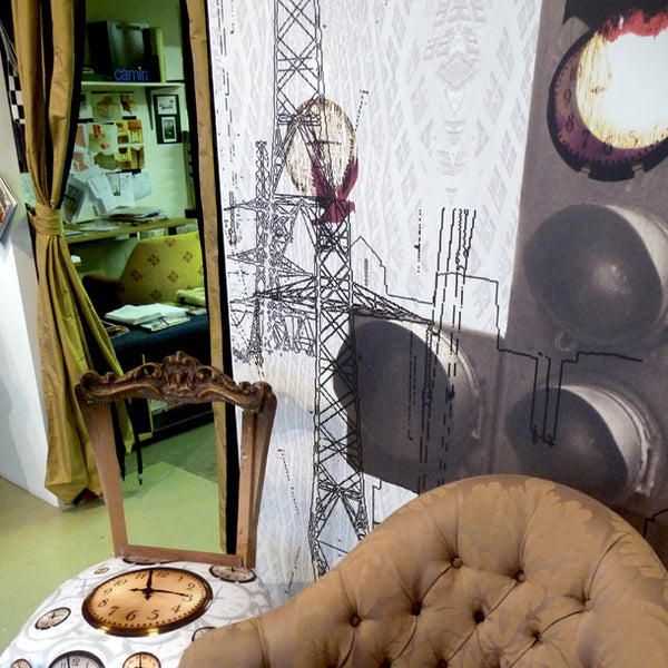 City Mural, Lampshade, Canvases and Floating Clocks Fabric by ATADesigns.  Upholstery by Urban Upholstery.