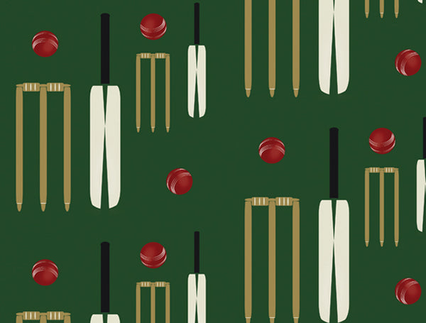Cricket Bat and Ball Wallpaper Design by ATADesigns for One Man Two Guvnors Play at the Derby Theatre - UK
