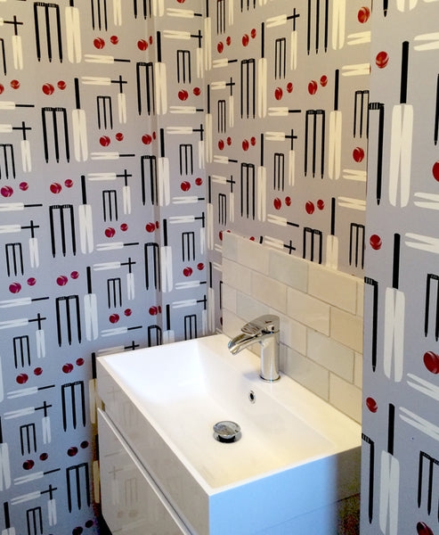 Lets Play Cricket Wallpaper Design by ATADesigns in Residential Project - Bathroom