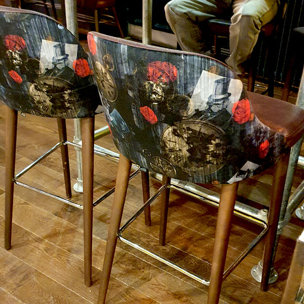 Dog N Watch Fabric Design by ATADesigns and Arka Chergui upholstered onto chairs at The Priory in Tynemouth