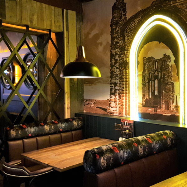 Dog N Watch Fabric Design by ATADesigns and Arka Chergui upholstered onto banquet seatings at The Priory in Tynemouth