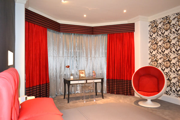 Maddy's Room Design by Elisa Interiors.  Featuring Floating Clocks Wallpaper by ATADesigns