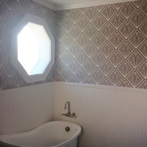 Geometric Art Deco Wallpaper by ATADesigns in Bathroom - Residential Project - USA