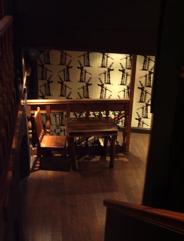 Crane wallpaper by ATADesigns installed at the Goat in Boots Pub, London