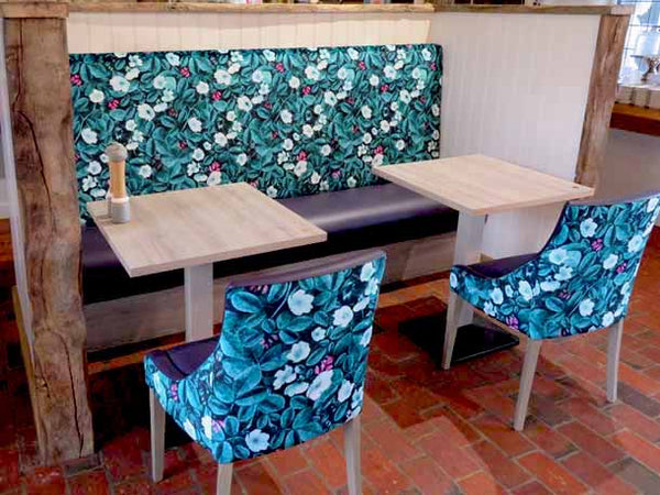 Kews Leafy Florals Fabric Design by ATADesigns Upholstered by Hillswood Furnitur Group on to fixed seatings and chairs for The Old Barn at Tates Garden Centre