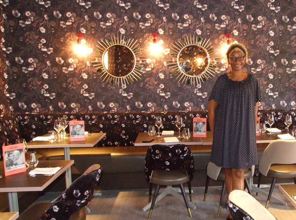 Annette Taylor-Anderson with her designs at The Jones Family Kitchen - London
