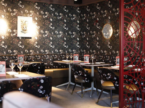 Kews Leafy Florals Wallpaper and Fabric design by ATADesigns at The Jones Family Kitchen - London