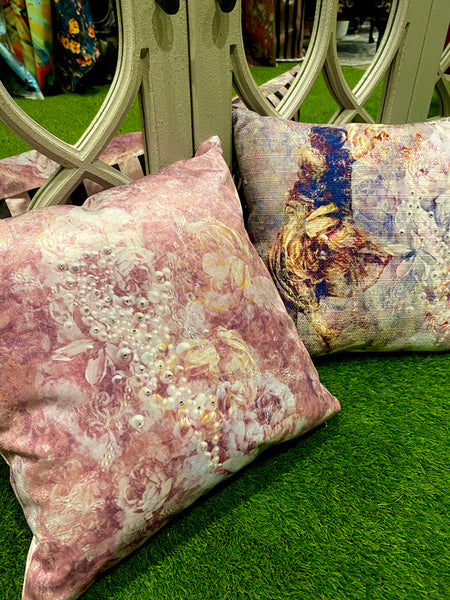 Ladies of Fleur and Pearlescent Cushion Design by ATADesigns and Elisa Interiors for Residential Project.