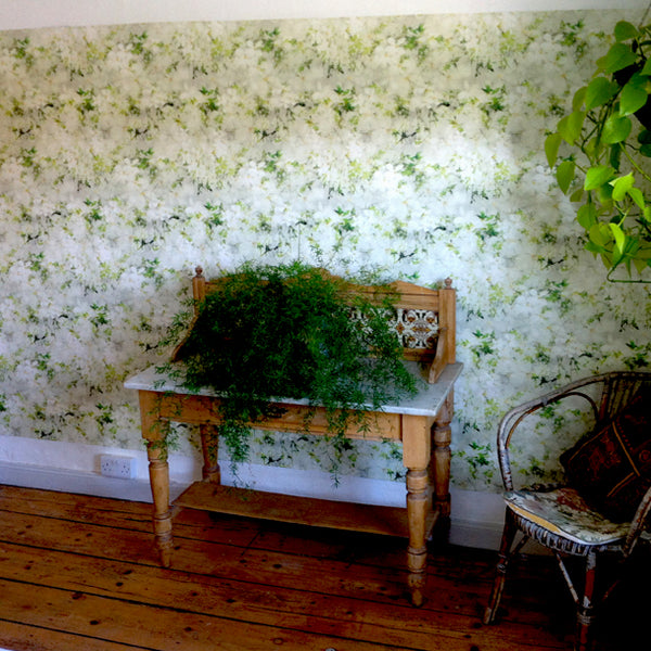 Leaves on Floral Wallpaper Design by ATADesigns in Residential Project