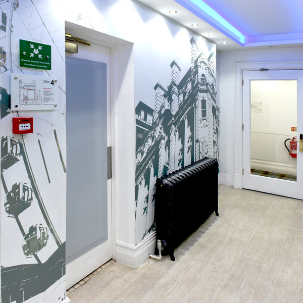Manchester City Mural Design by ATADesigns at 53 King Street Offices - Manchester