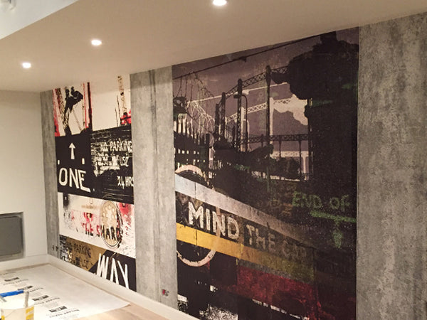 Mind the Gap Mural and One Way Mural Part of Urban London Project in Residential Project - UK