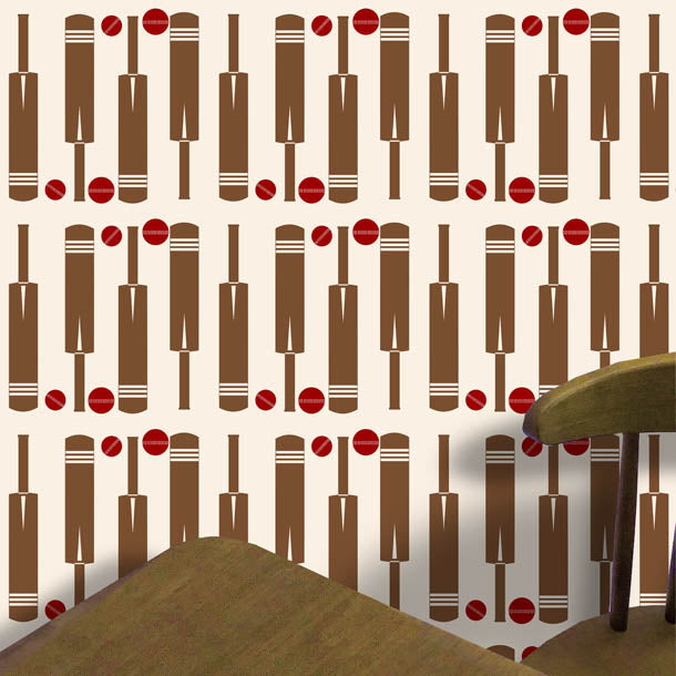 Cricket Bat and Ball Wallpaper (cream) by ATADesigns