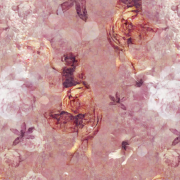 Ladies of Fleur Wallpaper (deep pink) by ATADesigns