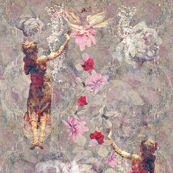 Pearlescent Ladies Wallpaper (warm-buff-pink) by ATADesigns