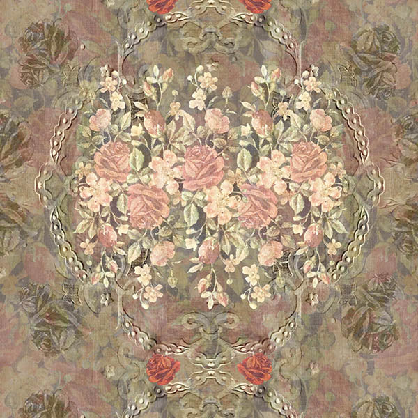 Vintage Floral Wallpaper (pink) by ATADesigns