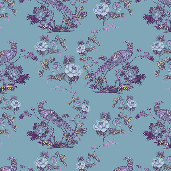Bird in Floral Wallpaper (eggshell-grey-pink) by ATADesigns