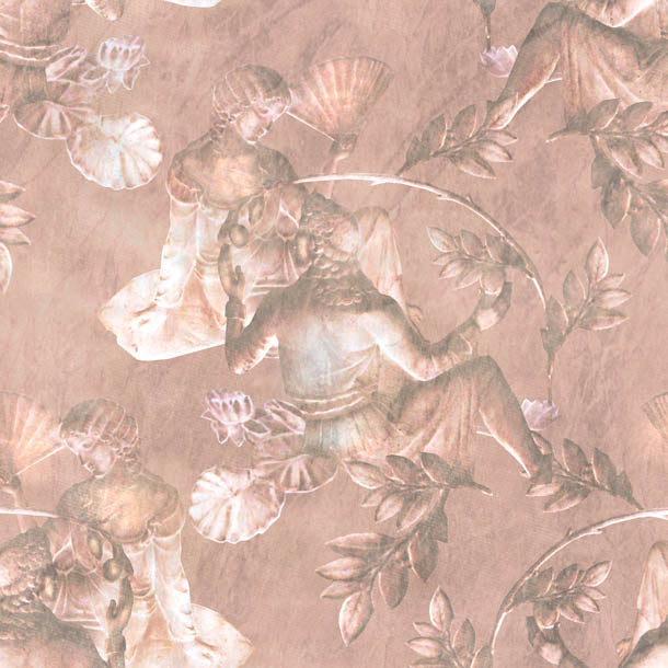 Charles and Nell Wallpaper (dark-pewter-pink-pearl)Funky Abstract Wallpaper by ATADesigns