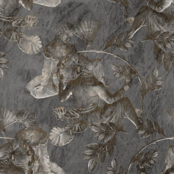 Charles and Nell Wallpaper (dramatic-grey-pearl)Funky Abstract Wallpaper by ATADesigns
