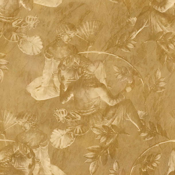 Charles and Nell Wallpaper (light-gold-ochre)Funky Abstract Wallpaper by ATADesigns