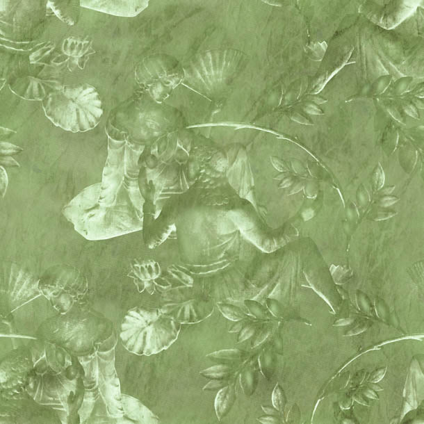 Charles and Nell Wallpaper (olive-green-pearl)Funky Abstract Wallpaper by ATADesigns
