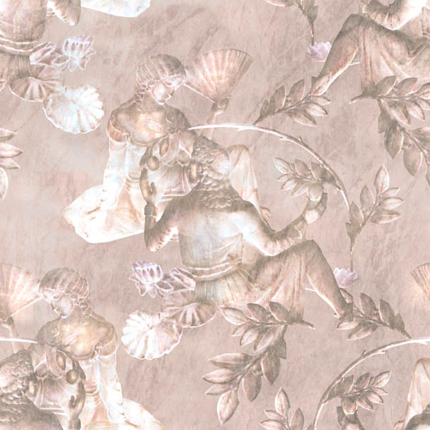 Charles and Nell Wallpaper (pewter-pink-pearl)Funky Abstract Wallpaper by ATADesigns