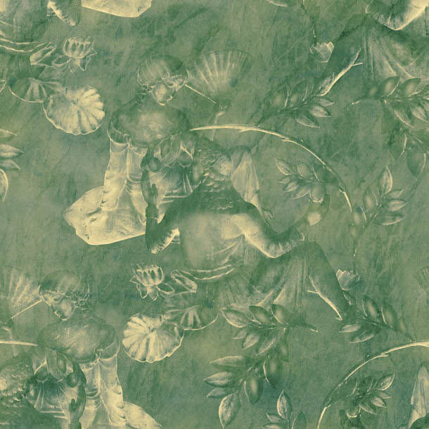 Charles and Nell Wallpaper (pine-green-pearl)Funky Abstract Wallpaper by ATADesigns